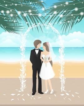 Hochzeitstag am strand mit paar