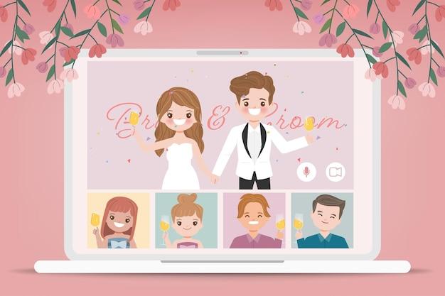 Hochzeitstag im neuen normalen lebensstil mit konferenzvideoanruf. karikatur flacher vektorentwurf.