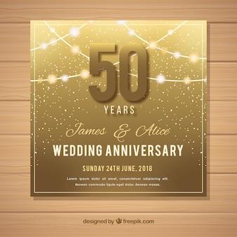 Hochzeitstag karte in goldener stil