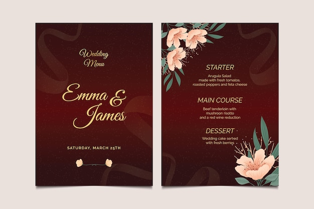 Hochzeitstag menüvorlage Kostenlosen Vektoren