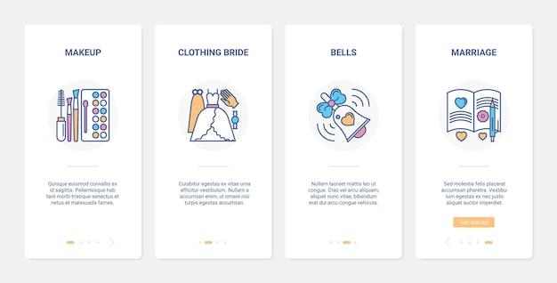 Hochzeitstag vorbereitungsideen für braut ui ux onboarding mobile app-seitenbildschirmset.