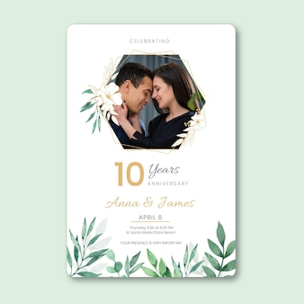 Hochzeitstagskarte mit foto Premium Vektoren
