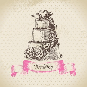 Hochzeitstorte. handgezeichnete abbildung