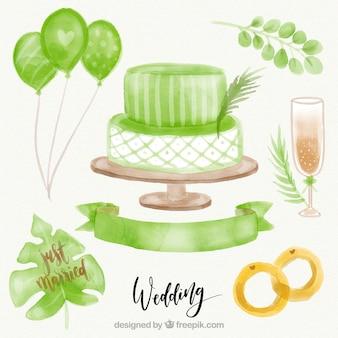 Hochzeitstorte hintergrund mit ringen und aquarell objekte