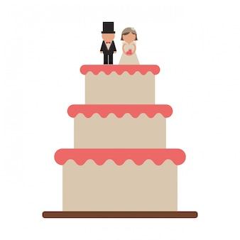 Hochzeitstorte mit bräutigam und braut