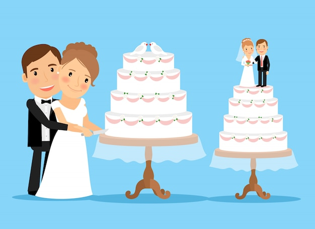 Hochzeitstorte mit braut und bräutigam