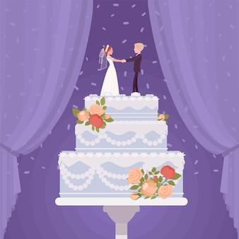 Hochzeitstorte mit braut- und bräutigamfiguren, creme, zuckerguss für, besondere tagesparty-kreation, prächtige dekoration für unvergessliche leckereien, dreistöckiges dessert. vektor-flache cartoon-illustration