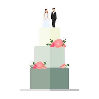 Hochzeitstorten mit blumenschmuck auf einem weißen hintergrund. hochzeitstorte mit schleifen und toppern braut und bräutigam vector illustration