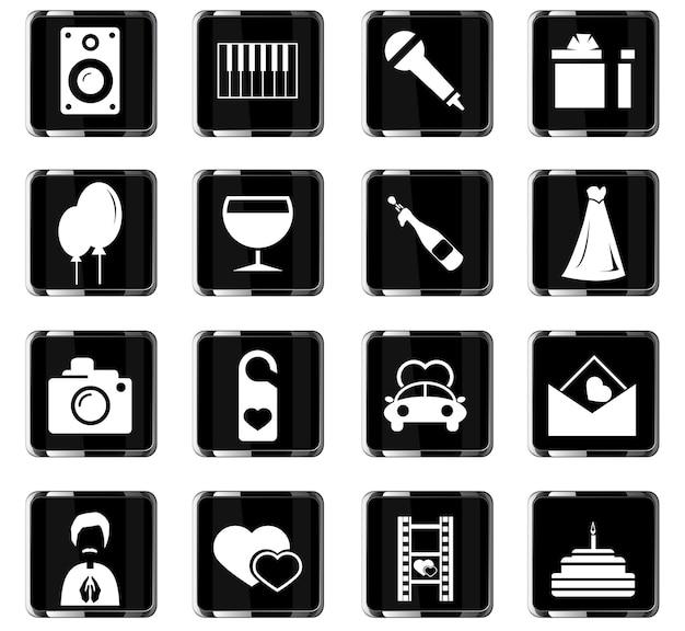 Hochzeitsvektorsymbole für das design der benutzeroberfläche