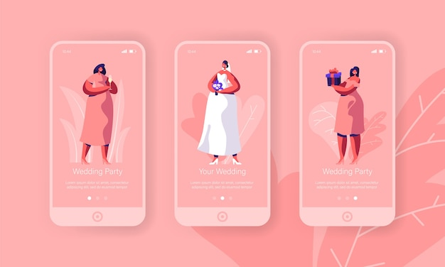 Hochzeitsvorbereitung bachelorette party mobile app seite onboard screen set. glückliche braut mit blumenstrauß tragen weißes kleid. brautjungfer im rosa konzept für website. flache karikatur-vektor-illustration