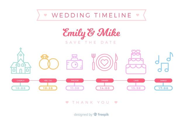 Hochzeitszeitleiste im linearen stil