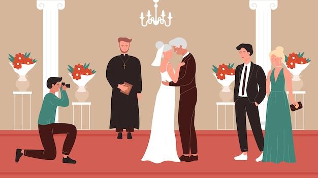Hochzeitszeremonie älterer leute im innenraum der alten kirchenkapelle