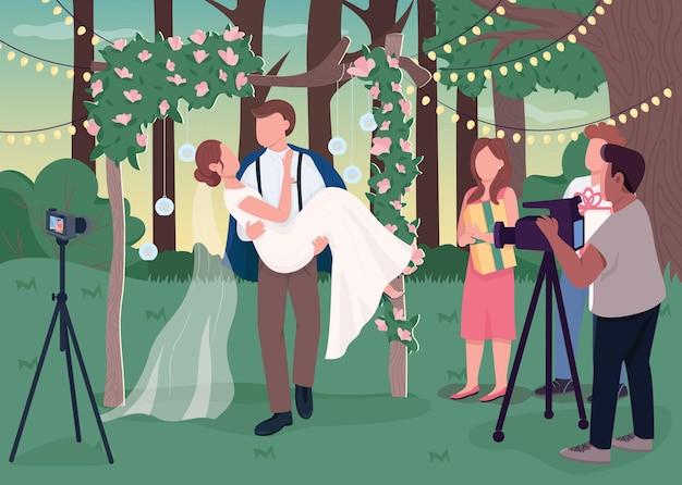 Hochzeitszeremonie, die flache farbillustration aufzeichnet. rustikale zeremonie. romantisches ereignis im ländlichen boho-stil. glücklicher bräutigam, der brautkarikaturfiguren mit landschaft auf hintergrund hält