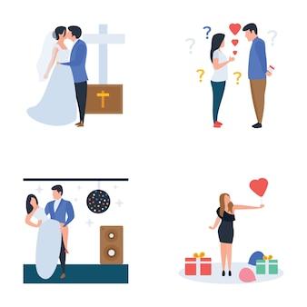 Hochzeitszeremonie, feier, party, vector pack