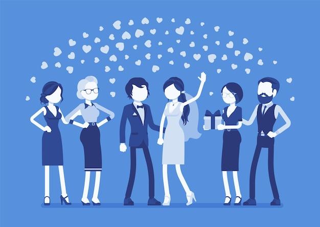 Hochzeitszeremonie frisch verheiratete gäste illustration
