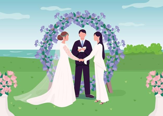 Hochzeitszeremonie für lesbenpaar flache farbillustration. romantisches engagement. glückliche frauen in der liebe. frau, die handkarikaturfiguren mit landschaft auf hintergrund hält