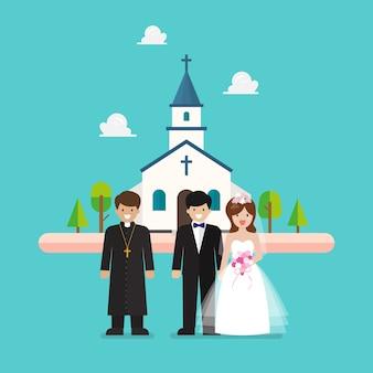 Hochzeitszeremonie in der kirche im flachen stil