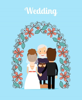 Hochzeitszeremonie-vektor-illustration