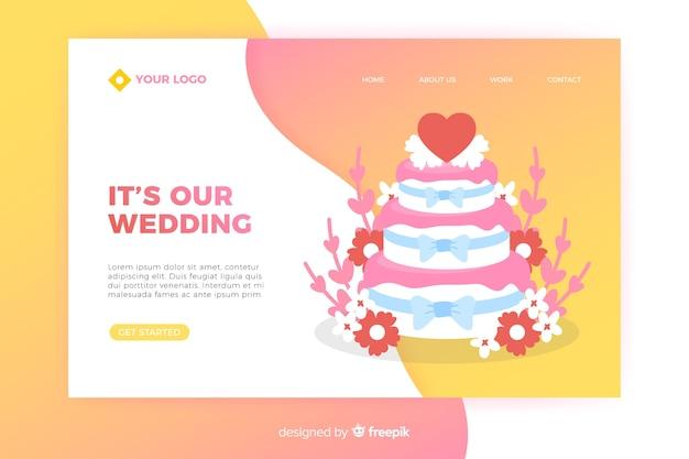 Hochzeitszielseite mit kuchen