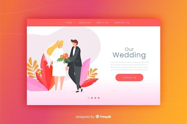 Hochzeitszielseite mit steigung