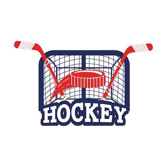 Hockey-emblem mit puck und stöcken mit ziel