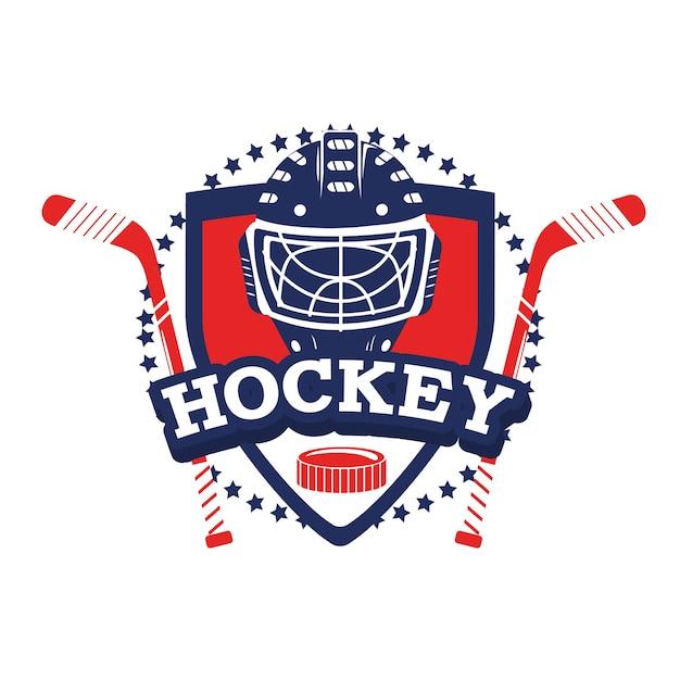 Hockey-emblem mit stöcken und helmausrüstung