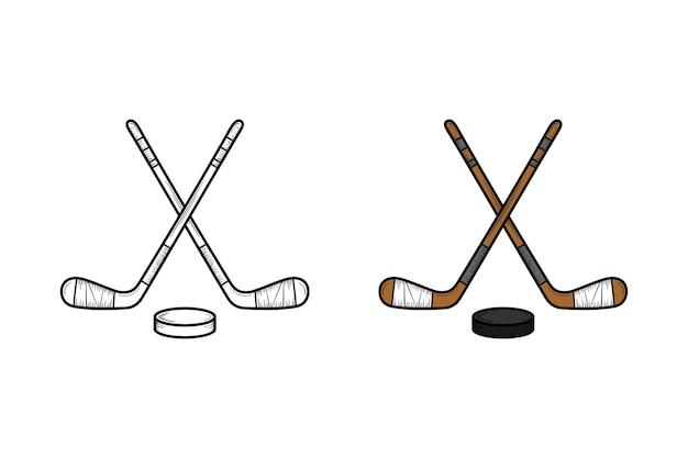 Hockey hand gezeichnete illustrationsskizze und -farbe