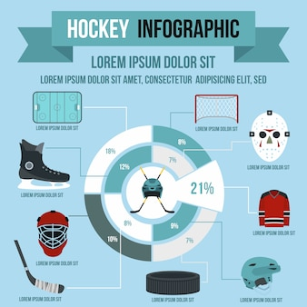 Hockey infographic in der flachen art für irgendein design