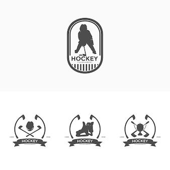 Hockey-logo-design-vorlagen-illustrationsvektor