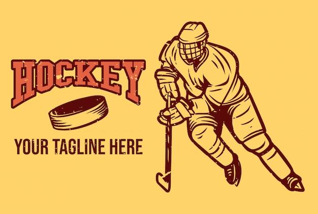 Hockey-logo im vintage-stil