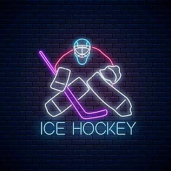 Hockey-meisterschafts-leuchtreklame mit hockeyschlägern und puck.
