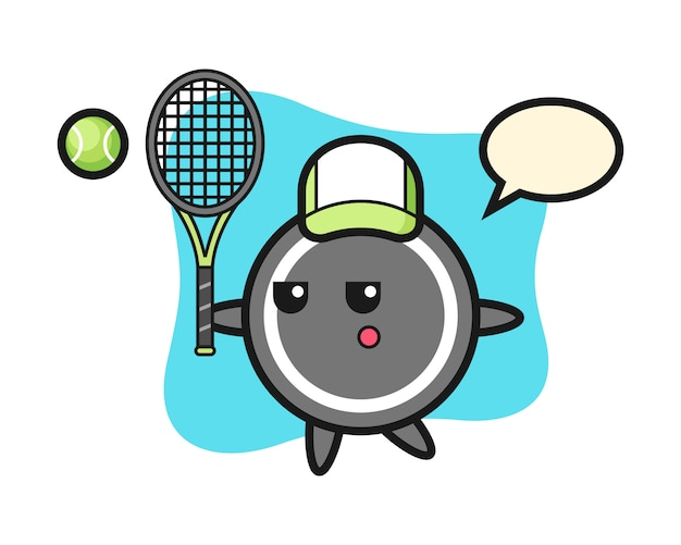 Hockey puck cartoon als tennisspieler