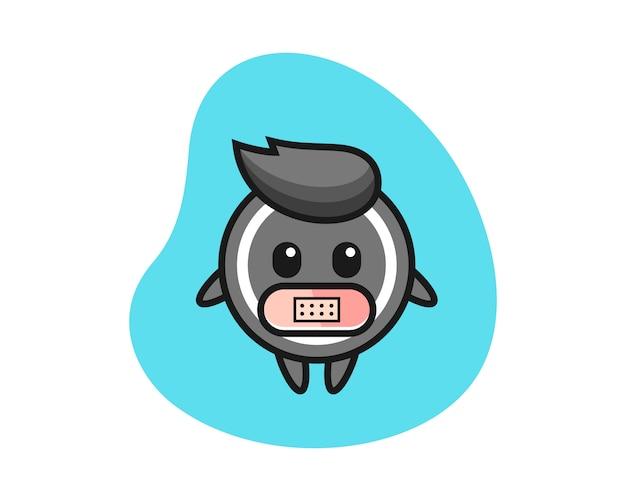 Hockey puck cartoon mit klebeband auf mund
