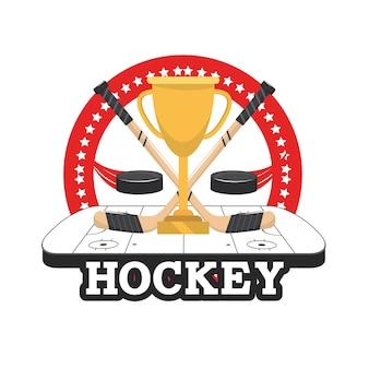Hockey puck mit stöcken und cup in der eisbahn