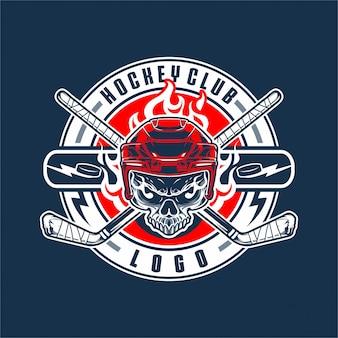 Hockey schädel logo illustration design