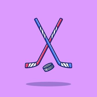 Hockey sport icon illustration. sport hockey icon concept isoliert. flacher cartoon-stil