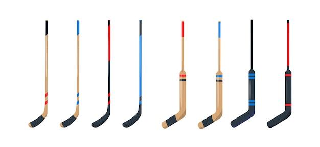 Hockey stick icons set sportgeräte zum hockeyspielen auf eis