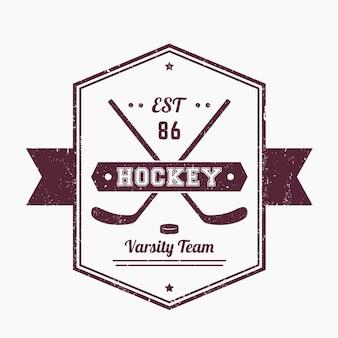 Hockey vintage emblem, logo mit gekreuzten stöcken, grunge-texturen