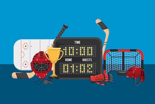 Hockey zeit mit punkten und ziel in der eisbahn