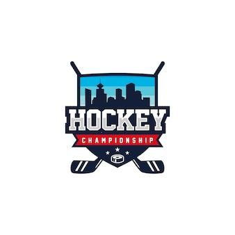 Hockeyabzeichenemblemlogodesign-vektorillustration