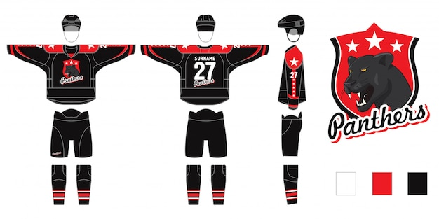 Hockeyform lokalisiert auf weißem hintergrund. hockeyuniform mit panthers-logo - schnittmuster zum nähen - hockey-pullover und hockey-beinlinge, gamaschen