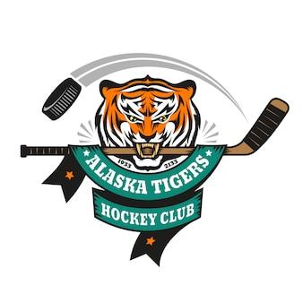 Hockeylogo, maskottchen, emblem eines tigers, der einen hockeyschläger in seinen zähnen hält.