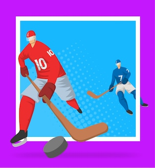 Hockeyspieler im abstrakten stil. illutration, vorlage für sportplakat.