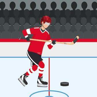 Hockeyspieler mit professionellem stock und puck