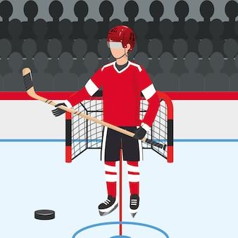 Hockeyspieler mit professioneller uniform und puck