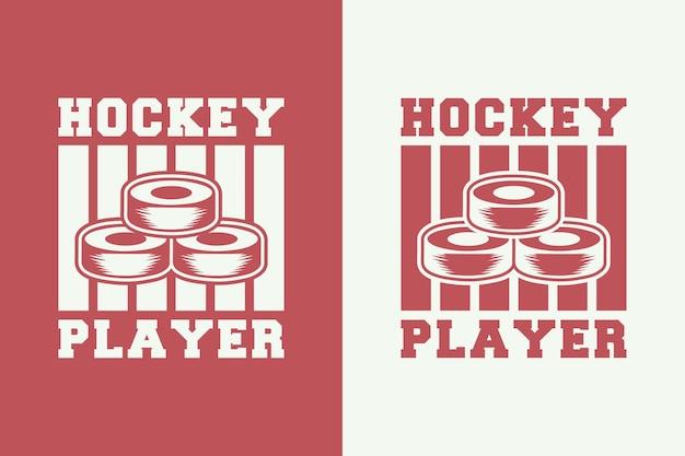 Hockeyspieler vintage typografie hockey t-shirt design illustration