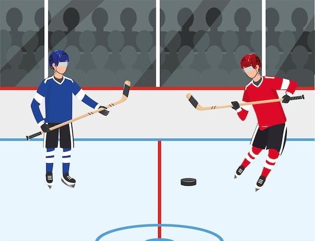 Hockeyspielerwettbewerb mit uniform in der eisbahn
