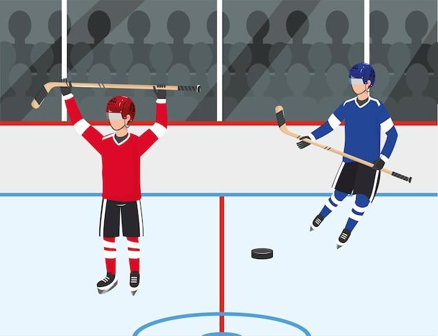 Hockeyspielerwettbewerb mit uniform und ausrüstung