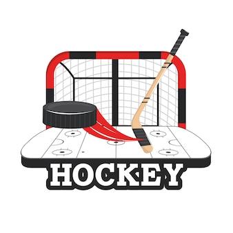 Hockeytor mit stöcken und puck in der eisbahn