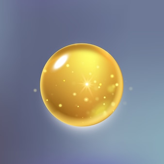 Höchste essenz für kollagenöltropfen. premium gold glänzendes serumtröpfchen.
